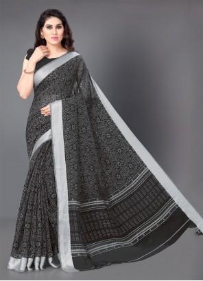 Black Cotton Classic Saree