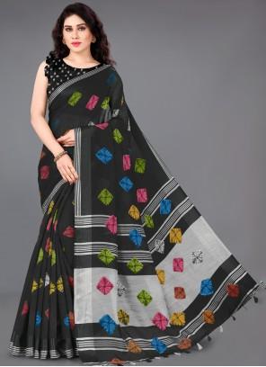 Cotton Classic Saree in Black