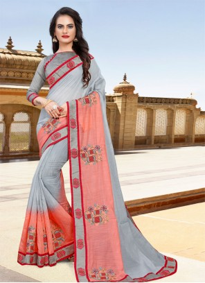 Cotton Classic Saree in Grey and Pink