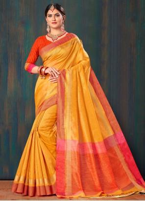 Cotton Classic Saree in Orange