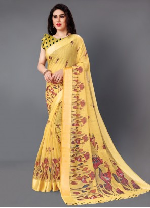 Cotton Classic Saree in Yellow