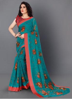 Cotton Teal Color Contemporary Saree