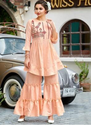 Cotton Cream Designer Palazzo Salwar Kameez