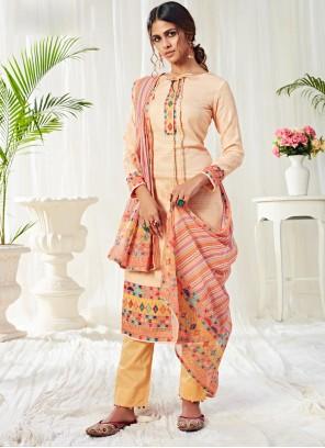Cotton Cream Designer Salwar Kameez