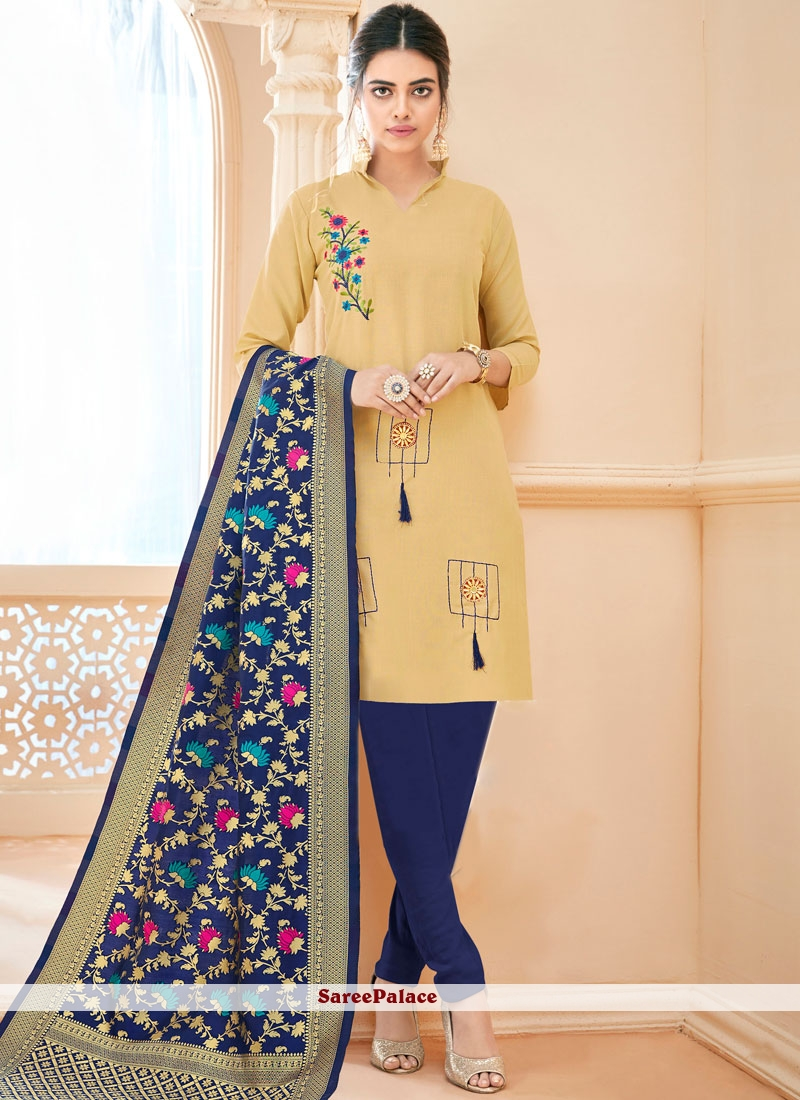 Cotton Cream Embroidered Churidar Designer Suit