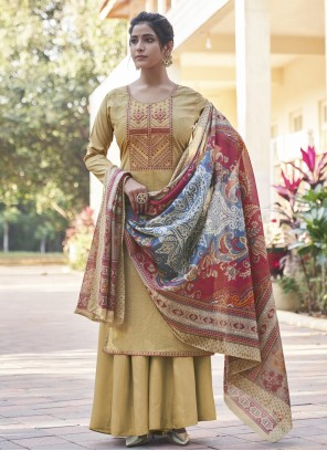Cotton Cream Embroidered Designer Pakistani Salwar Suit