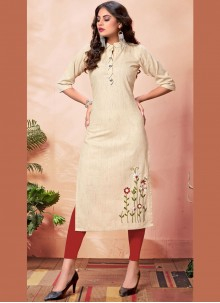 Cotton Cream Embroidered Party Wear Kurti