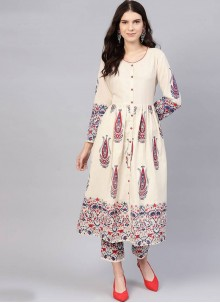 Cotton Cream Printed Salwar Kameez