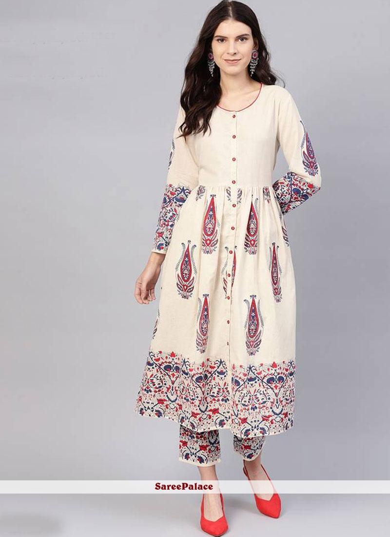 Cotton Cream Printed Salwar Kameez