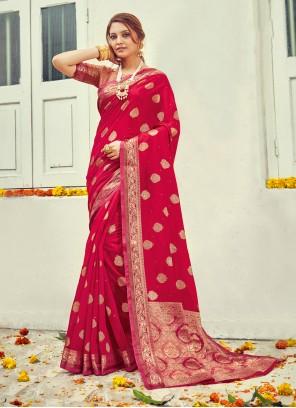 Cotton Crimson Jacquard Work Traditional Saree