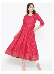 Hot Pink Cotton Designer Kurti