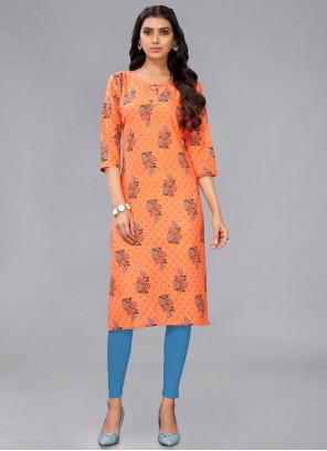 Cotton Designer Kurti in Orange