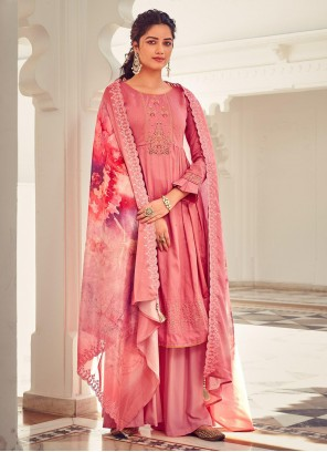 Cotton Designer Palazzo Salwar Kameez in Pink