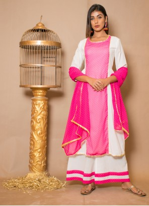 Pink and White Cotton Designer Palazzo Suit