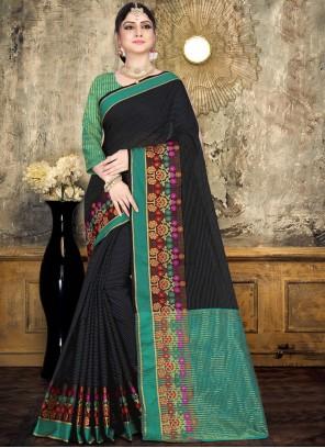 Cotton Designer Saree in Black