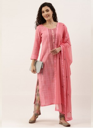 Pink Embroidered Cotton Designer Straight Suit