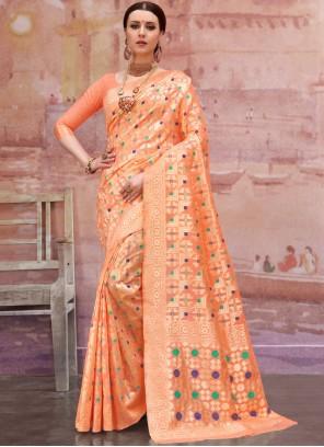 Cotton Designer Traditional Saree in Orange