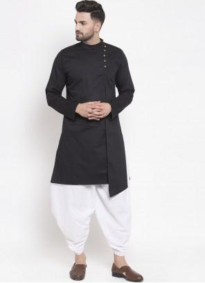 Cotton Dhoti Kurta in Black