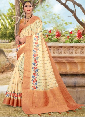 Cotton Digital Print Beige Trendy Saree
