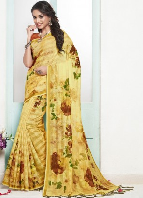 Cotton Digital Print Designer Traditional Saree in Yellow