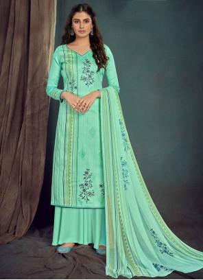 Cotton Digital Print Turquoise Bollywood Salwar Kameez