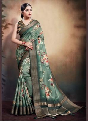Cotton Digital Print Green Classic Saree