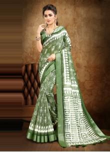 Cotton Digital Print Green Saree