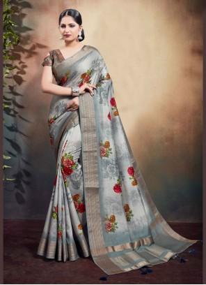 Cotton Digital Print Grey Classic Saree