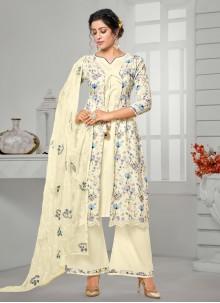 Cotton Digital Print Off White Bollywood Salwar Kameez