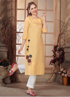 Cotton Digital Print Yellow Party Wear Kurti