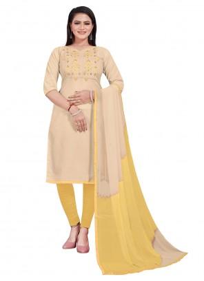 Cotton Embroidered Beige Churidar Salwar Suit