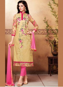 Cotton   Embroidered Beige Churidar Suit