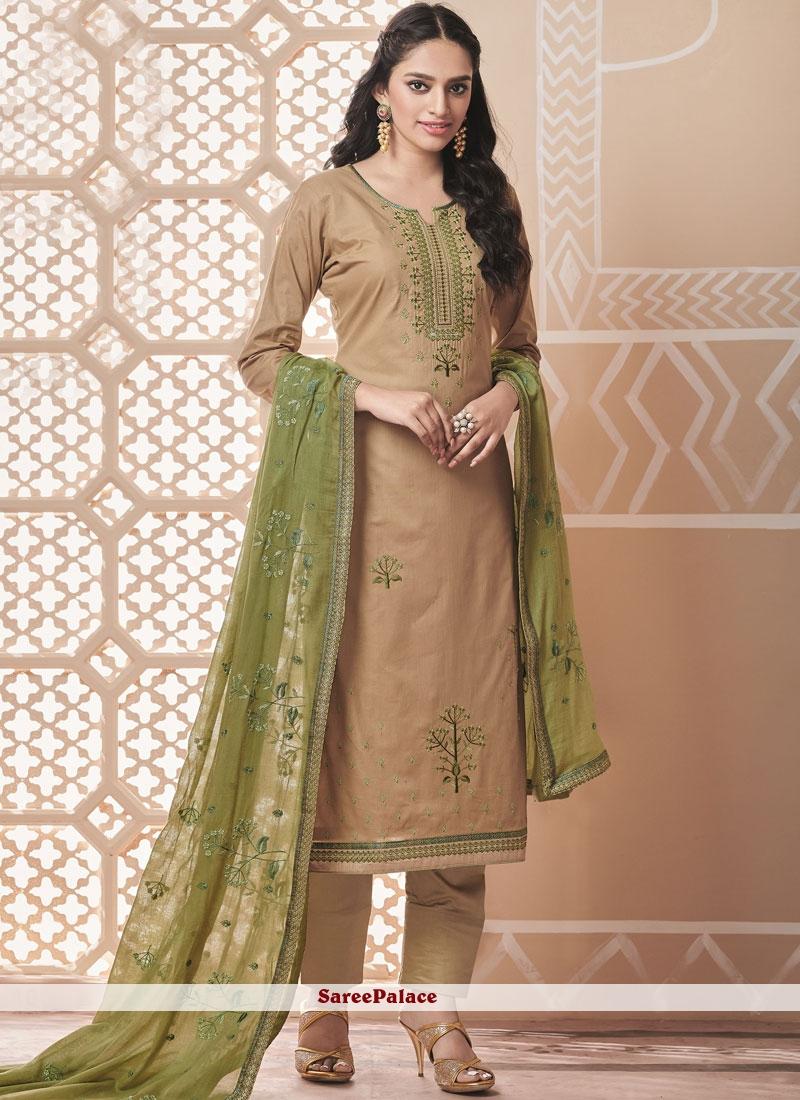 Cotton Embroidered Beige Salwar Suit