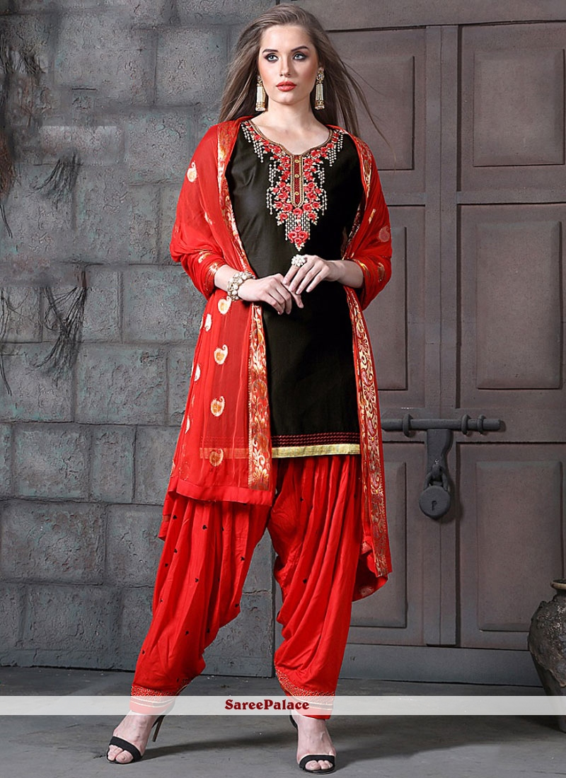 2e78ef9fdf7 Buy Cotton Embroidered Black and Red Designer Patiala Suit Online