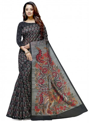 Cotton Embroidered Black Designer Saree