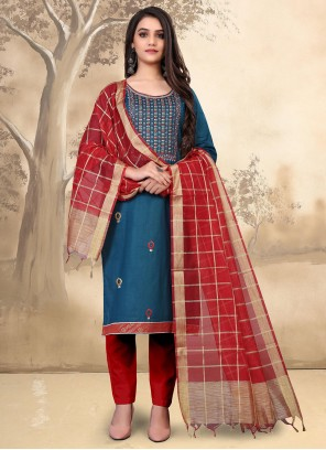 Cotton Embroidered Blue Pant Style Suit