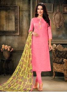 Cotton Embroidered Bollywood Salwar Kameez in Pink