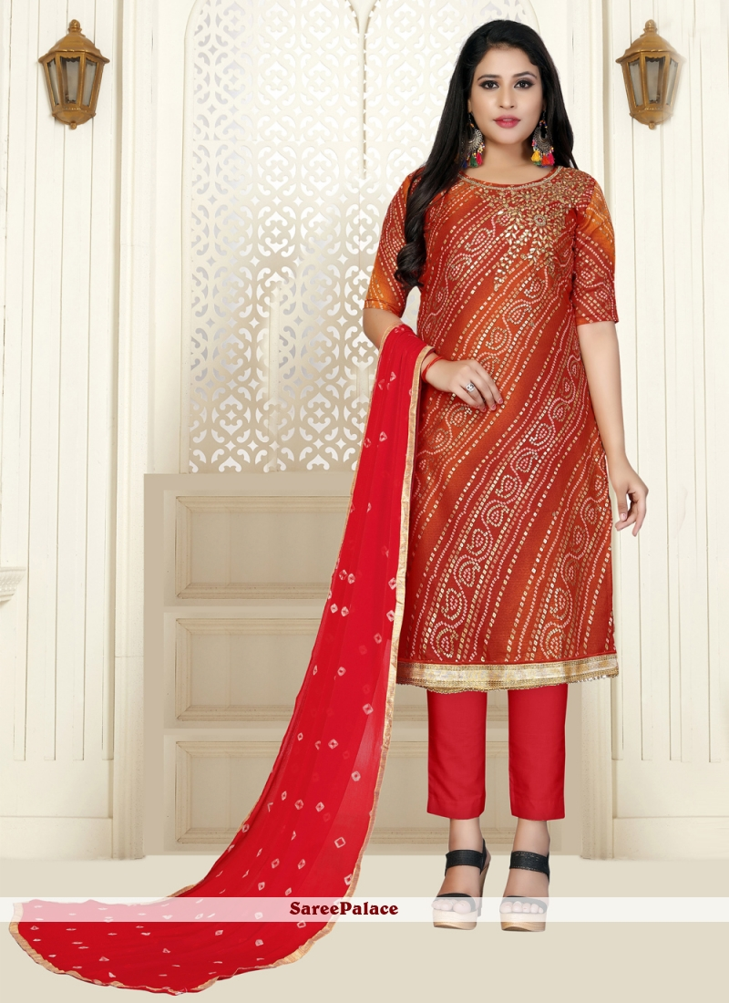 Cotton Embroidered Bollywood Salwar Kameez in Red