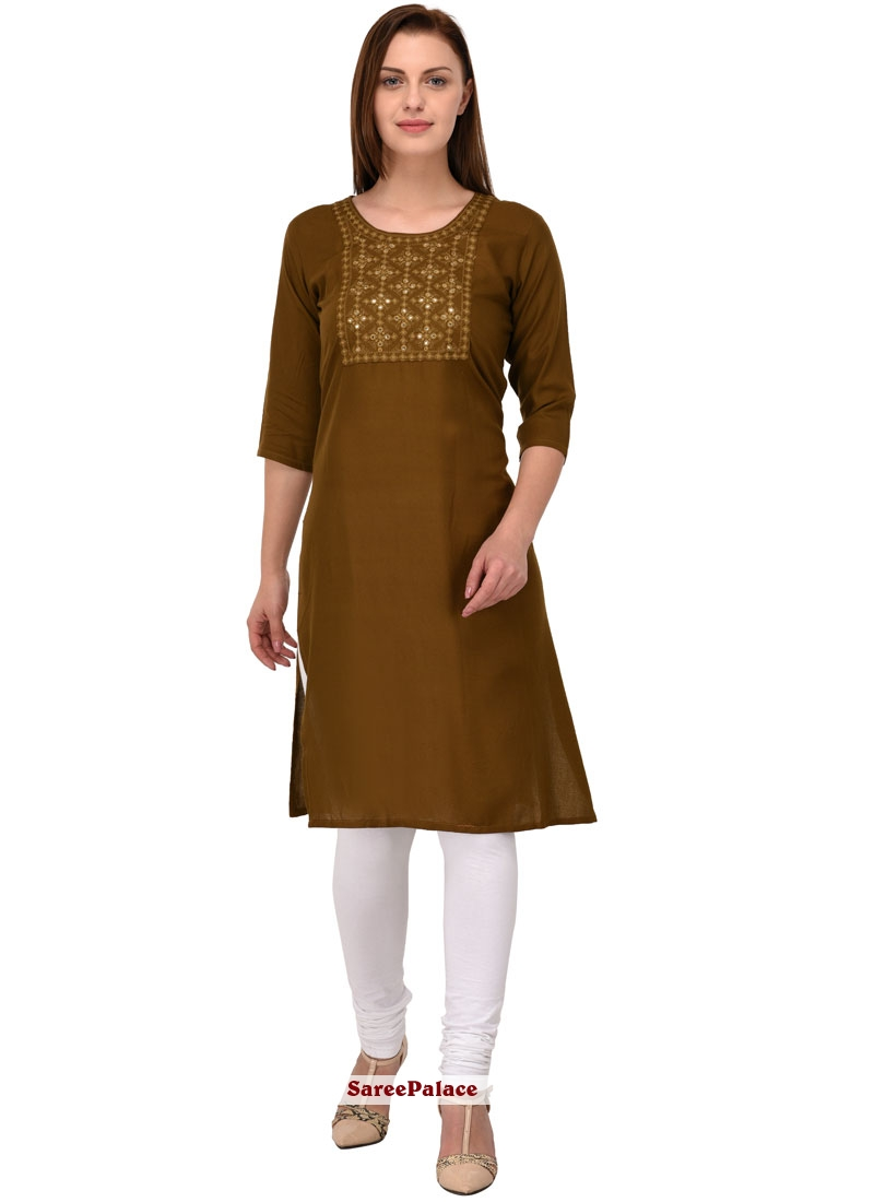 Cotton   Embroidered Casual Kurti in Brown