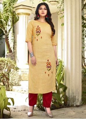 Cotton Embroidered Casual Kurti in Yellow