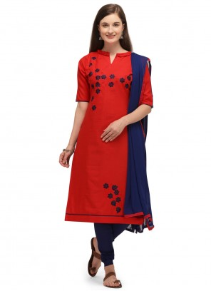 Cotton Embroidered Red Churidar Designer Suit