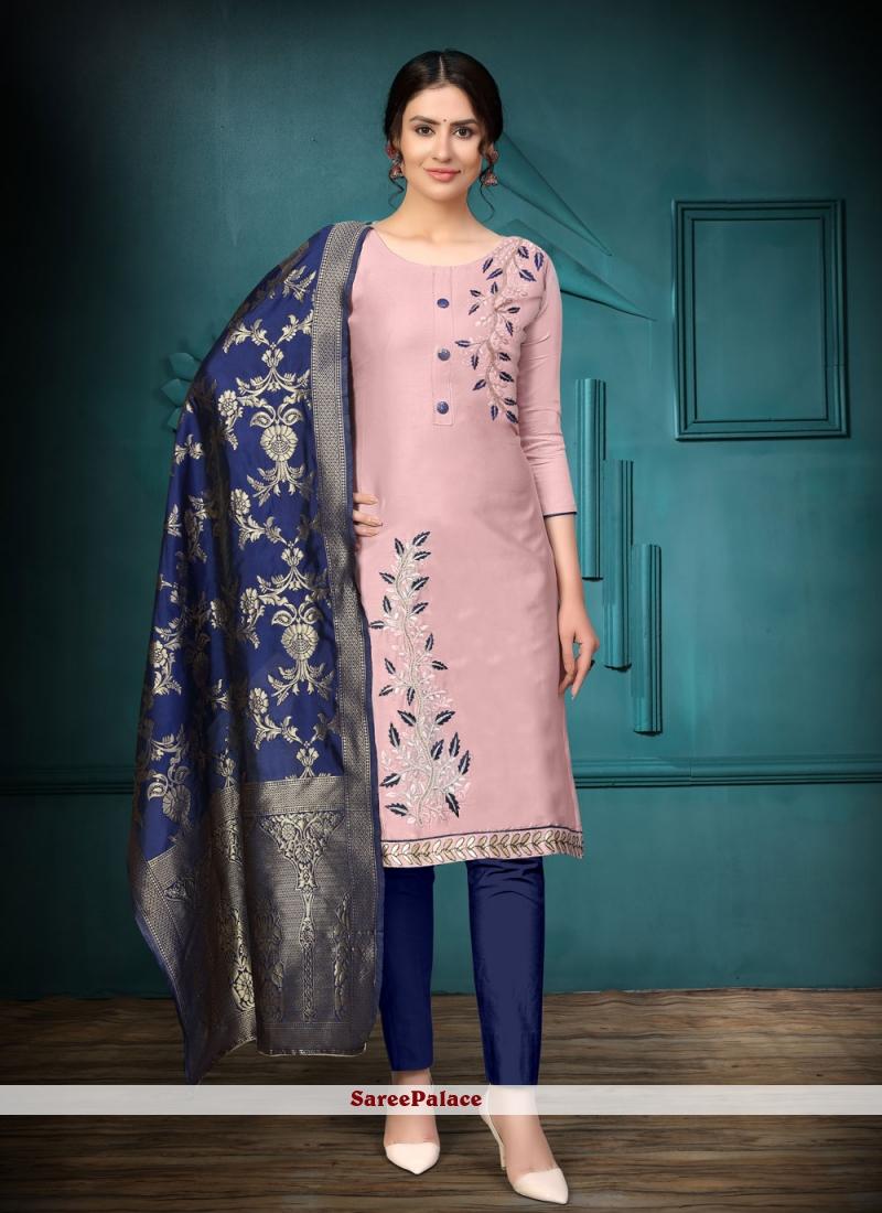 Pink Cotton Embroidered Churidar Designer Suit