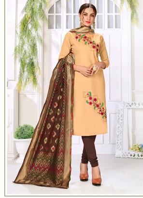 Cotton Embroidered Churidar Salwar Suit in Beige