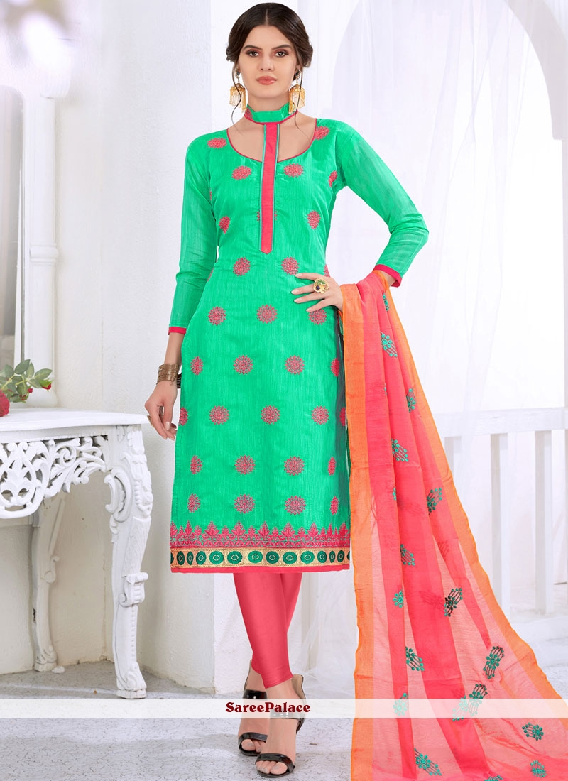Sea Green Cotton Embroidered Churidar Suit