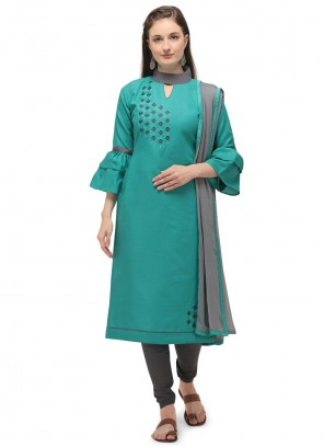 Cotton Embroidered Sea Green Churidar Suit