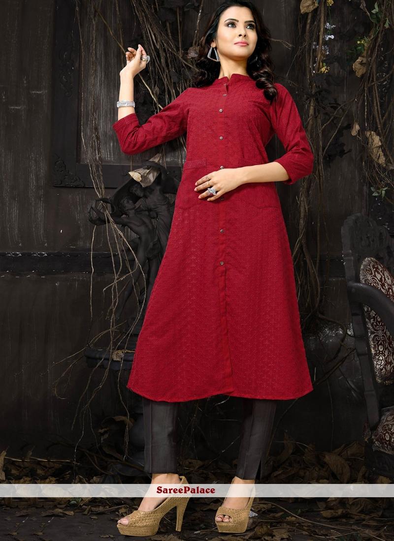 Cotton Embroidered Designer Kurti in Red