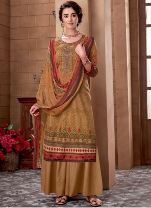 Cotton Embroidered Designer Palazzo Suit in Beige