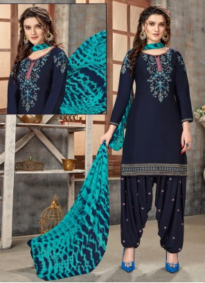 Navy Blue Cotton Embroidered Designer Patiala Suit