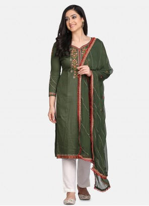 Green Cotton Embroidered Designer Straight Suit