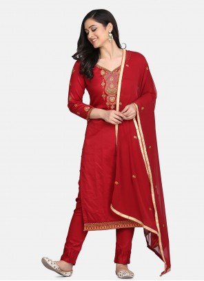 Cotton Embroidered Designer Straight Suit in Red